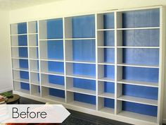 how to easily disguise the cardboard backing on ikea bookcases, painting, shelving ideas, wall decor