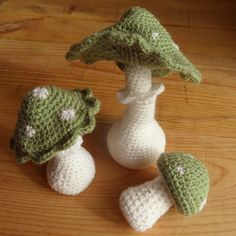 Forest mushrooms in green and white set of three by woolsmiths, $38.00