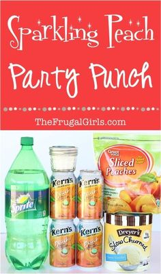 Peach Party Punch Recipe! ~ from TheFrugalGirls.com ~ the perfect sparkling punch for your next Birthday Party, Baby Shower or Bridal Shower! #punches #recipes #thefrugalgirls