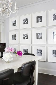 gallery wall. black vase.