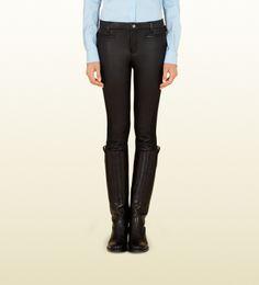 #Gifts Gucci pantalone cavallerizzo nero con dettaglio in pelle collezione equestrian nero
