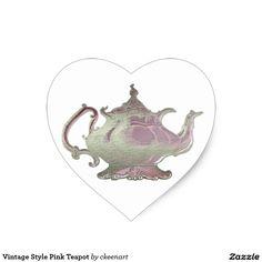 Vintage Style Pink Teapot Heart Sticker