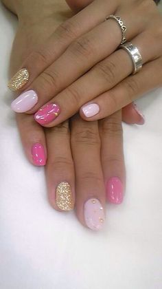 pink and gold #nailporn