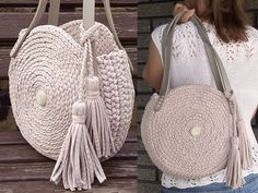 Crochet round bag Knit circle bag Stylish round women's handmade chunky bag Beach bag Crochet should