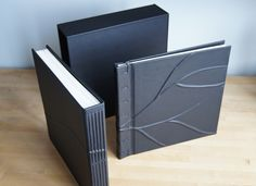 Toothsome leather album and guestbook set, handmade by Hinged Strung Stitched in Portland, Ore. Accordion Book, Book Sculpture, Stitching Leather, Handmade Books, Journal Covers, Leather Journal, Packaging Design Inspiration, Book Binding, Book Gifts