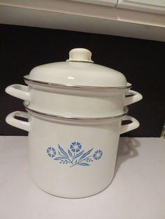 """Vtg Enamel Blue Cornflower Steamer Stockpot Set Corning Ware Style 10 1/2"""""""