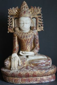 antique buddha statues | Antique Burmese Alabaster Royal Crowned Buddha Statue 19th Century