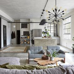 Restored by the Fords' Steve Ford's Pittsburgh Loft Loft Design, Home Office Design, Home Interior Design, Loft Style Homes, Loft Style Apartments, Home Living Room, Living Room Designs, Living Spaces, Warehouse Living