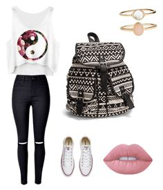 """""""Untitled #541"""" by angelesghendo ❤ liked on Polyvore featuring Converse, Lime Crime, NLY Accessories and Accessorize"""