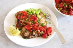 grilled swordfish with roasted tomato salsa