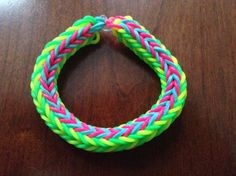 Neon double cross rainbow loom
