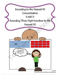 Rounding to the Nearest 10 Concentration from lisa00 on TeachersNotebook.com -  (6 pages)  - In this variation of concentration students practice rounding three-digit numbers to the nearest 10.