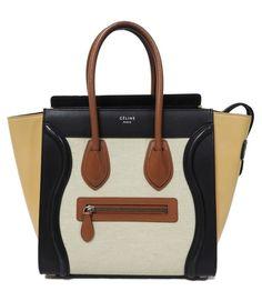 ff831be7cc Céline Luggage Micro Multicolor Chalk Canvas Beige Calfskin Leather Tote -  Tradesy Celine Luggage