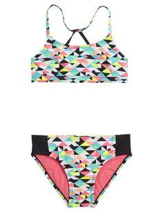 Reversible Geo Print Bikini Swimsuit from justice size 12 please Cute Swimsuits, Cute Bikinis, Women Swimsuits, Bikini Babes, Bikini Swimwear, Bikini 2017, Triangle Swimwear, Bikini Beach, Sexy Bikini