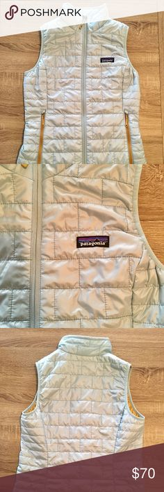 Patagonia Primaloft Puffer Down Vest Zip Up Gorgeous Patagonia vest in perfect condition. Light blue with mustard yellow lined interior. Zip close pockets and super warm without adding bulk. Patagonia Jackets & Coats Vests