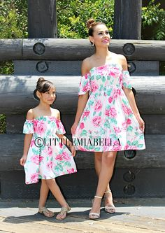 off the shoulder dress mother daughter matching dresses Mother Daughter Dresses Matching, Mother Daughter Fashion, Mom Daughter, Mother Daughters, Mommy And Me Outfits, Girl Outfits, Summer Girls, Marie, Kids Fashion