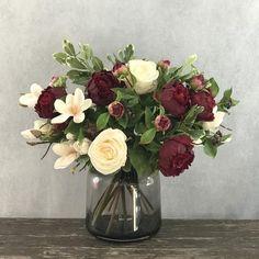 Types Of Flowers, Fake Flowers, Fresh Flowers, Artificial Flowers, Silk Flowers, Beautiful Flowers, Autumn Inspiration, Garden Inspiration, Burgundy Champagne Wedding