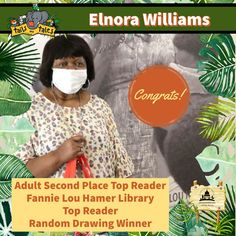 #SUMMERREADING PROGRAM HIGHLIGHT: Congratulations to Elnora Williams, the adult second place systemwide Top Reader and the Top Reader at Fannie Lou Hamer Library! Elnora won a Walmart $25 gift card, Malco passes, new books, and is a random drawing winner of a Google prize pack. Enjoy! 🥳 See who else has won at jhlibrary.org/srp21winners. #SummerReadingProgram #SRP #SRP2021 #TailsAndTales Summer Reading Program, New Books, Congratulations, Memes, Drawings, Highlight, Walmart, Cards, Random