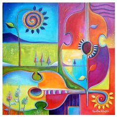 "cubist10  --   MUSIC ON THE FIELDS 24"" x 24' x 3/4' Acrylic on stretched canvas"