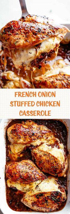 FRENCH ONION STUFFED CHICKEN CASSEROLE #frenchonion
