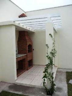 Churrasqueiras - simples e sofisticadas. Outdoor Stove, Model House Plan, Small Backyard Gardens, Outdoor Living, Outdoor Decor, Terrace Garden, Pergola, Sweet Home, House Design