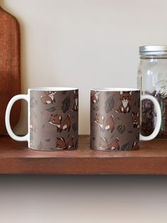 """""""Baby Foxes chasing Leaves - Cute pattern & design"""" Mug by MonoMano Cute Pattern, Pattern Design, Baby Foxes, Mug Designs, Notebooks, Classic Style, Cat Lovers, Leaves, Ceramics"""