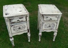 Check out this item in my Etsy shop https://www.etsy.com/listing/237779914/pair-vintage-nighstands-two-drawers