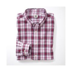 Uni Qlo Red Extra Fine Cotton Broadcloth Check Long Sleeve Shirt A £14.90 Item Code:075216