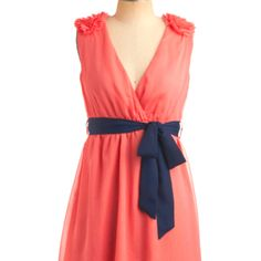 Coral and navy dress