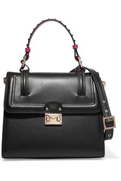 8e4f539267f7 Valentino  Cabana Black and magenta leather (Calf) Push lock-fastening  front flap Comes with dust bag Weighs approximately Made in Italy