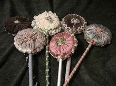 x Antique Ribbonwork Powder Puff Wand Chocolate by FrenchFolly