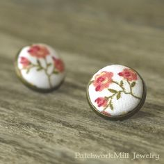 Stud Earrings Antique Button Jewelry Floral Fabric Covered Button Pink Boho Flower Shabby Elegance Wedding Chic Bridal Roses Earring Studs, Jewelry by PatchworkMillJewelry