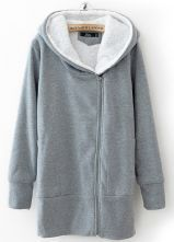 Grey Hooded Long Sleeve Zipper Slim Sweatshirt - Sheinside.com
