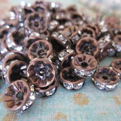 8 mm Vintage Patina Copper Czech Crystal Rhinestone Rondelle Spacers - 20 pcs