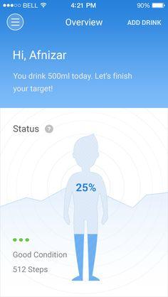 Smart water app overview Diet Apps, App Design Inspiration, Mobile App Ui, User Experience Design, Smart Water, Ui Ux Design, Mobile Design, User Interface, Design Elements