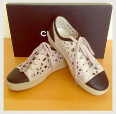 Chanel 13c Laser Cut Sneakers Beige Athletic Shoes $720
