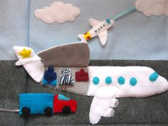 Airport Quiet Book Page Pattern with Commercial by ImagineOurLife Diy Quiet Books, Baby Quiet Book, Felt Quiet Books, Quiet Book Patterns, Toddler Books, Busy Book, Book Activities, Activity Books, Indoor Activities