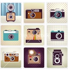 Old vintage camera set vector by ma_rish on VectorStock®