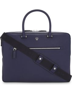 MCM Ottomar grained leather briefcase Creative Bag, Name Plaques, Work Bags, Leather Briefcase, Hermes Kelly, Messenger Bag, Shoulder Strap, Accessories, Leather Satchel