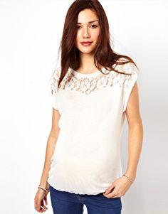New Look Maternity Lace Yoke T-Shirt