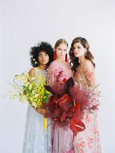High fashion gowns, statement jewelry and vibrant hues all come together in this wedding inspiration for the modern bride. Floral Wedding, Wedding Colors, Wedding Flowers, Floral Fashion, High Fashion, Dream Wedding, Wedding Day, Floral Bouquets, Bridal Bouquets