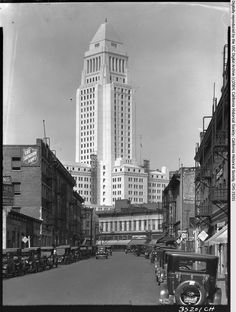 """View of the nearly completed City Hall building in Los Angeles from a nearby street, ca.1928 