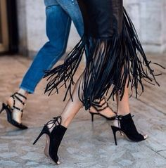 fringes & aquazzura heels