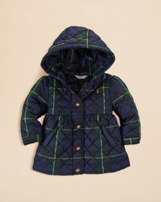 Ralph Lauren Infant Girls' Tartan Quilted Barn Jacket - Sizes 9-24 Months | Bloomingdales's