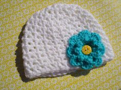 White baby beanie with aqua flower size 3 months by LoveMeDoCrochet, $8.00