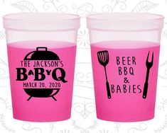 Baby BBQ Shower, Baby Shower Mood Cups, barbecue Baby Shower, Country Baby Shower, Baby Shower Color Changing Cups by My Wedding Store! Everything in my shop can be Customized! Baby Q Shower, Baby Shower Themes, Baby Shower Decorations, Shower Ideas, Baby Must Haves, Country Babys, Bachelorette Favors, Bun In The Oven, Outdoor Baby