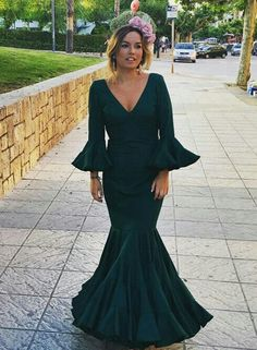 Deep V Neck Long Prom Dress , Mermaid Charming Prom Dress – Simplepromdress Spanish Dress, Mermaid Prom Dresses, Different Fabrics, Perfect Fit, Formal Dresses, Party Dresses, Wedding Dresses, V Neck, Flamenco Dresses
