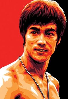 I love this vector illustration of Bruce Lee. The black and red color blocks lend a powerful dynamic element to this hero. The artful use of color for highlights and shadows add textured dimension. The color contrasts showcase the warmth of Lee's personality.