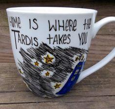 "Doctor Who ""Home Is Where The TARDIS Takes You"" Mug. $14.50, via Etsy."
