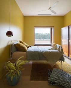 'Tumeric' transforms this bedroom by In collaboration with and Bi Design Architecture. Yellow Paint Colors, Yellow Painting, Wall Colors, Interior Paint, Interior Decorating, Interior Design, Bedroom Wall, Girls Bedroom, Paint Companies